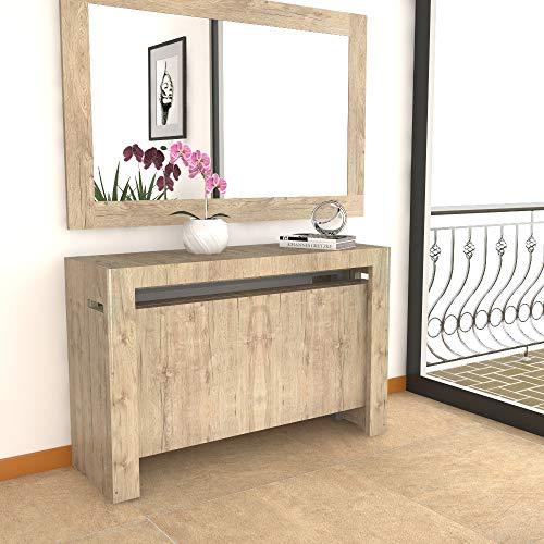 VE.CA. Mercurio XXL Table console en mercurio XXL avec porte-rallonges extensible de 40 à 300 cm, disponible en différentes couleurs, ameublement de cuisine, ameublement maison (chêne Sherwood)
