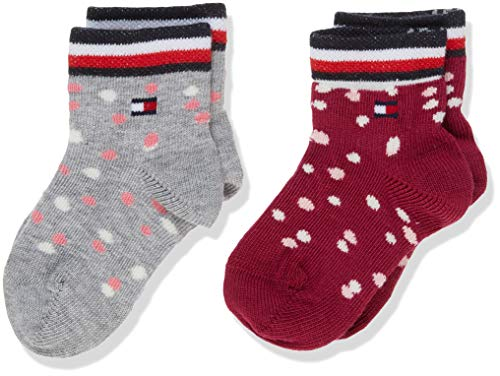 Tommy Hilfiger Unisex Baby TH 2P GIRLS DOTS Socken, Mehrfarbig (Pink Combo 174), 19-22 (Herstellergröße: 019) (2er Pack)