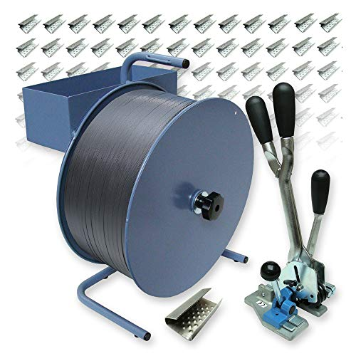 16 mm PP-Umreifungsset - 2000 m Polypropylen-Umreifungsband, reißfest bis 215 kg mit Abrollgerät, Spann- und Verschlussgerät und 1000 Verschlusshülsen