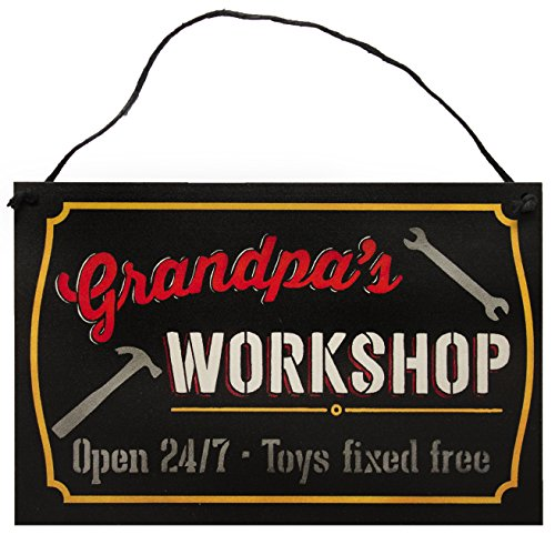 Grandfather's Workshop Sign by StudioR12 | 7.5' x 5'| for The Grandad who has Everything | Best Grandpa Gift from his Grandson or Granddaughter | Select Grandfather Title (Grandpa's Workshop)