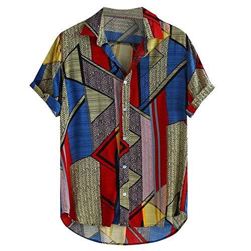 Mens Ethnic Style Sommer Kurzarm Lose Knöpfe Freizeithemd Bluse Tops Frühling Multicolor Retro Bluse Shirts Tops