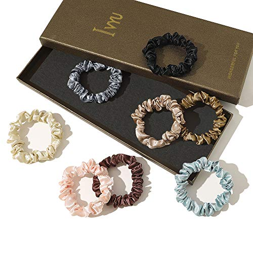 Scrunchies Silk Satin Hair Ties - Elestics Ponytail Holder Hair Bands Small Scrunchy For Thick Curl Hair No Crease Hair Ties Accessories Soft Ropes No Hurt Your Hair for Women and Girls