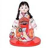 【木目込市松】【市松人形】6号 木目込京都西陣鹿の子柄衣装市松:芳俊作【ひな人形】【浮世人形】