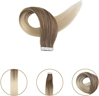 Full Shine Virgin Hair Skin Weft Unprocessed Human Hair #8 Brown And #60 Platinum Blonde Human Hair 16 Inch 25 Gram Young Lady Extensions Fashion Wonderful Virgin Remi Hair Finest Tape In Extensions