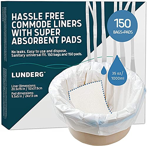 Lunderg Commode Liners with Absorbent Pads - Value Pack Medical Grade 150 Count Universal Fit - Disposable Bedside Commode Liners and Pads for Adult Commode Chairs, Portable & Camping Toilet Bags