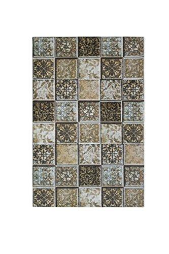 Trendyitalia 12899 Tappeto Maiolica, Tessuto, Poliestere, Ciniglia, Multicolore, 57x180x1 cm