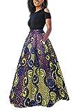 Yacun Femme Jupe Longue Africaine Robe Imprimé Floral Deux Pièces Traditionnelle Purple L
