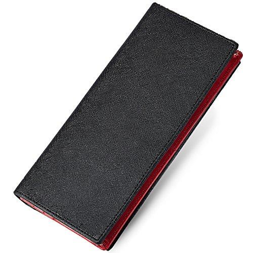 [グレヴィオ] 一流の財布職人が作る 財布 長財布 小銭入れ付き タイガ加工 ビジネスウォレット ブラック×レッド メンズ
