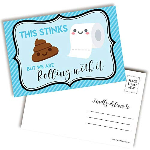 Funny This Stinks TP Themed Blank Postcards To Send To Friends & Family, 20 Fill In Notecards by AmandaCreation