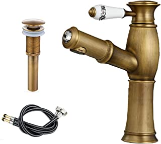 Single-Handle Kitchen Sink Faucet,Pull-Down Vessel Bathroom Ceramics Faucets,Brushed Antique Brass Finish,Water-Efficient Antique Water Valve