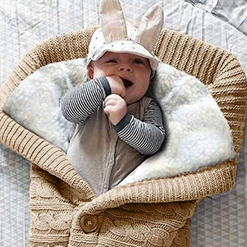 Envoltura de Cochecito de Bebé Saco Cochecito Bebe 68 * 40CM Manta de Bebé Saco de Dormir para Recién Nacido Saco de Cochecito para Niños de 0 a 12 Meses (Beige)