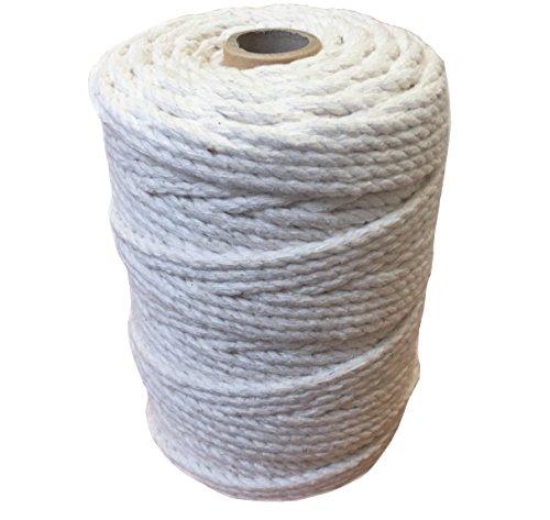 Macramé - Bobina de hilo de macramé de algodón de 3 mm y 6 mm; cordón de trenzado para soportes colgantes para plantas, fundas para muebles, tapices