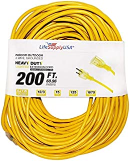 12/3 200ft 300V SJT Extension Cord LED Lighted End Prong for Indoor + Outdoor use