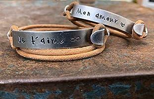 Bracelets couple personnalisé. Duo bracelets gravé. Cadeau pour les couples, personnalisable. Bijoux gravés. Cadeau pour...