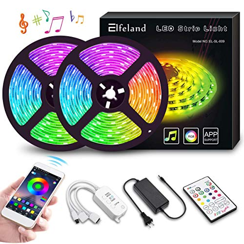 LED Strip Lights, Elfeland 10M 32.8ft 300 LEDs Color Changing Rope Lights 5050 RGB Light Strips with APP Tape Lights Sync with Music Apply for Home Kitchen