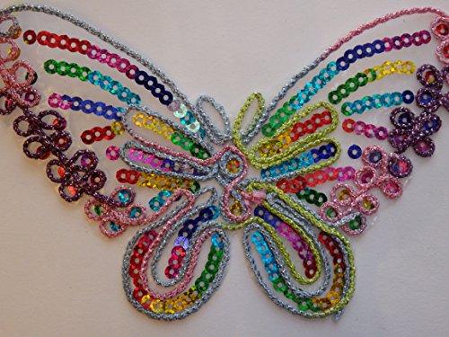 3 parches de mariposa multicolor grandes para planchar o coser con motivo...
