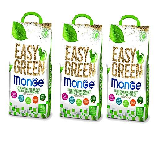 lettiera VEGETALE MONGE Easy Green Gatto Gatti furetti rettili Cat 10 Litri biodegradabile WC 2/3/6 Sacchi SPEDIZIONE Gratuita (3 Pezzi)