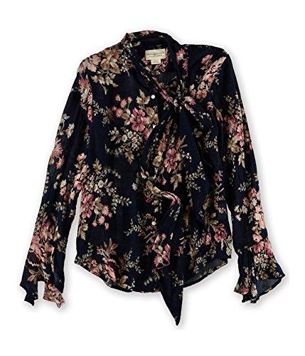 Denim & Supply Ralph Lauren Damen Bluse mit Kragen und Blumenmuster, Schwarz -  Schwarz -  Klein