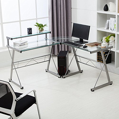 Mecor L-Shape Corner Computer Desk Glass...