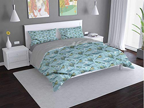 Toopeek Birds Extra large quilt cover Eggs-Resting-in-Nest-Flower Can be used as a quilt cover-lightweight (Full)