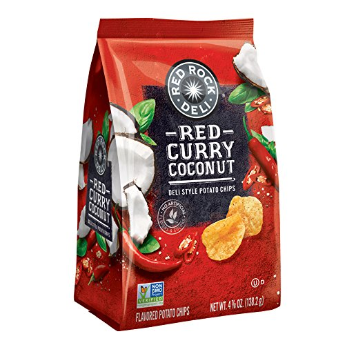 Red Rock Deli Red Curry Coconut Flavored Deli Style Potato Chips, 4.88 Ounce