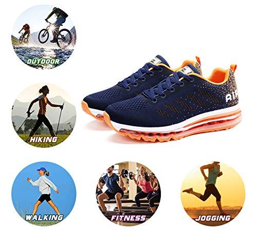 Air Zapatillas de Running para Hombre Mujer Zapatos para Correr y Asfalto Aire Libre y Deportes Calzado Unisexo Blue Orange 39