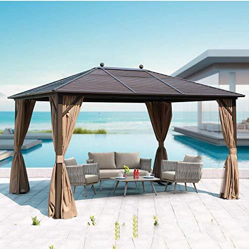 WSN Techo Duro Gazebo, Exterior de Acero galvanizado con Dosel Cortinas Muebles de Aluminio con una Malla de jardín, Patio, césped 10x13ft