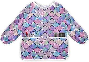 xigua Mascarilla de sirena para niños, resistente al agua, con manga larga y bolsillos para cocinar la pintura de hornear