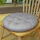 2 pezzi di cuscini per sedie morbidi cuscini rotondi in cotone e lino pouf per sedie da pranzo   sedia da ufficio   poltrone (grigio)