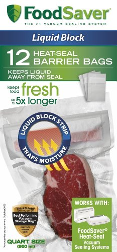 FoodSaver 1 Quart Liquid Block Heat Seal Bags transparent