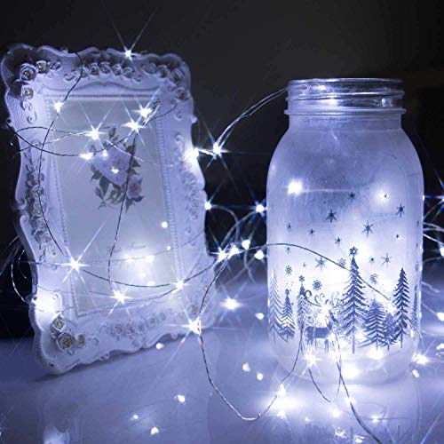 Fairy String Lights, 2 Set 33ft 100 Led Fairy Lights Battery Operated Silver Wire Lights with Remote Control, 8 Mode Waterproof Lights for Home Garden Bedroom Centerpiece Wedding Party (White)