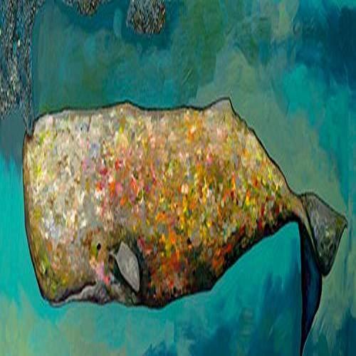 GreenBox Art + Culture Canvas Wall Art Whale in Seafoam by Eli Halpin, 36 by 12-Inch
