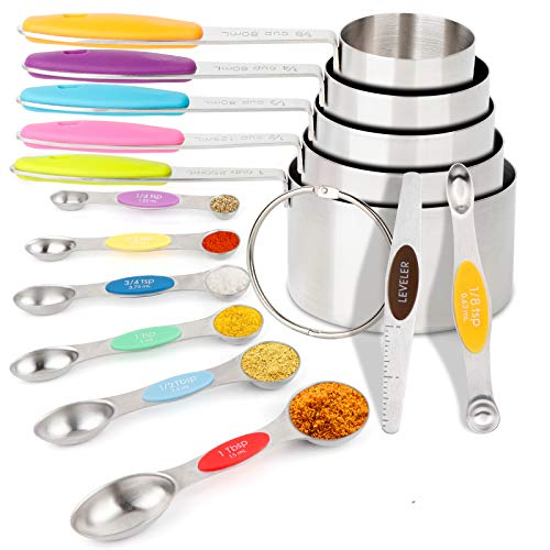 OurWarm Measuring Spoons and Cups Set 13 Piece, 5 Stainless Steel Dry Measuring Cups & 7 Stackable Dual Sided Magnetic Measuring Spoons & 1 Leveler for Kitchen Cooking
