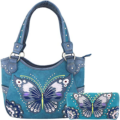 Western-Stil Schmetterling verzierte Schnalle versteckte Tragetasche Country Handtasche Frauen Schultertasche Brieftasche Set, (#3 Türkis), Large