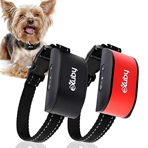 Exuby 2-Pack Friendliest Bark Collar for Small Dogs - No Prongs, No Shock & No Harm - Only Sound & Vibration - Stay in Control with 7 Levels of Intensity - Rechargeable - Most Humane No Bark Collar