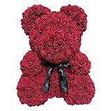 CerisiaAnn - Oso de peluche artificial romántico, regalo para San Valentín, cumpleaños, bodas y aniversarios, color rojo vino