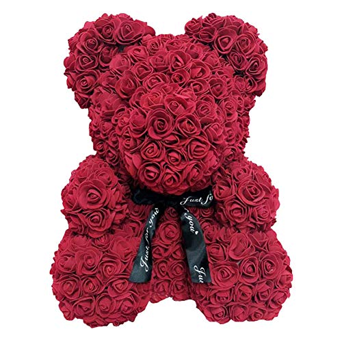 CerisiaAnn Künstlicher Rosen-Teddybär, 25 cm Schaumstoff, romantischer Rosenbär, kreatives Forever-Bär, Geschenk für Valentinstag, Geburtstag, Hochzeit, Jahrestage weinrot