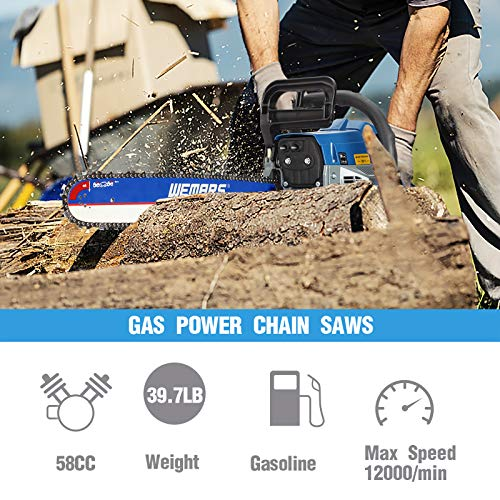 WEMARS 62cc Gas Chainsaw 20 Inch Power Chain Saws 2 Stroke Handed Petrol Chainsaws Gasoline Chain Saw Garden Tool for Cutting Wood Outdoor Home Farm Use