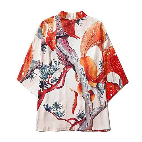 Haori Kimono Cárdigan para Hombres,Pijama Kimono Tradicional Japonés Chaqueta Suelta Gran Tamaño Camisa Pareja Dibujos Animados Unisex Yukata Estilo Japonés,White-XXL