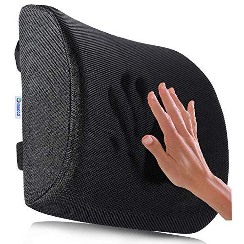 Cojín de espuma de memoria para el soporte lumbar, cojín de viaje transportable con funda de malla en 3D, protector ortopédico, negro, para masajear y aliviar el dolor, de Ergogo