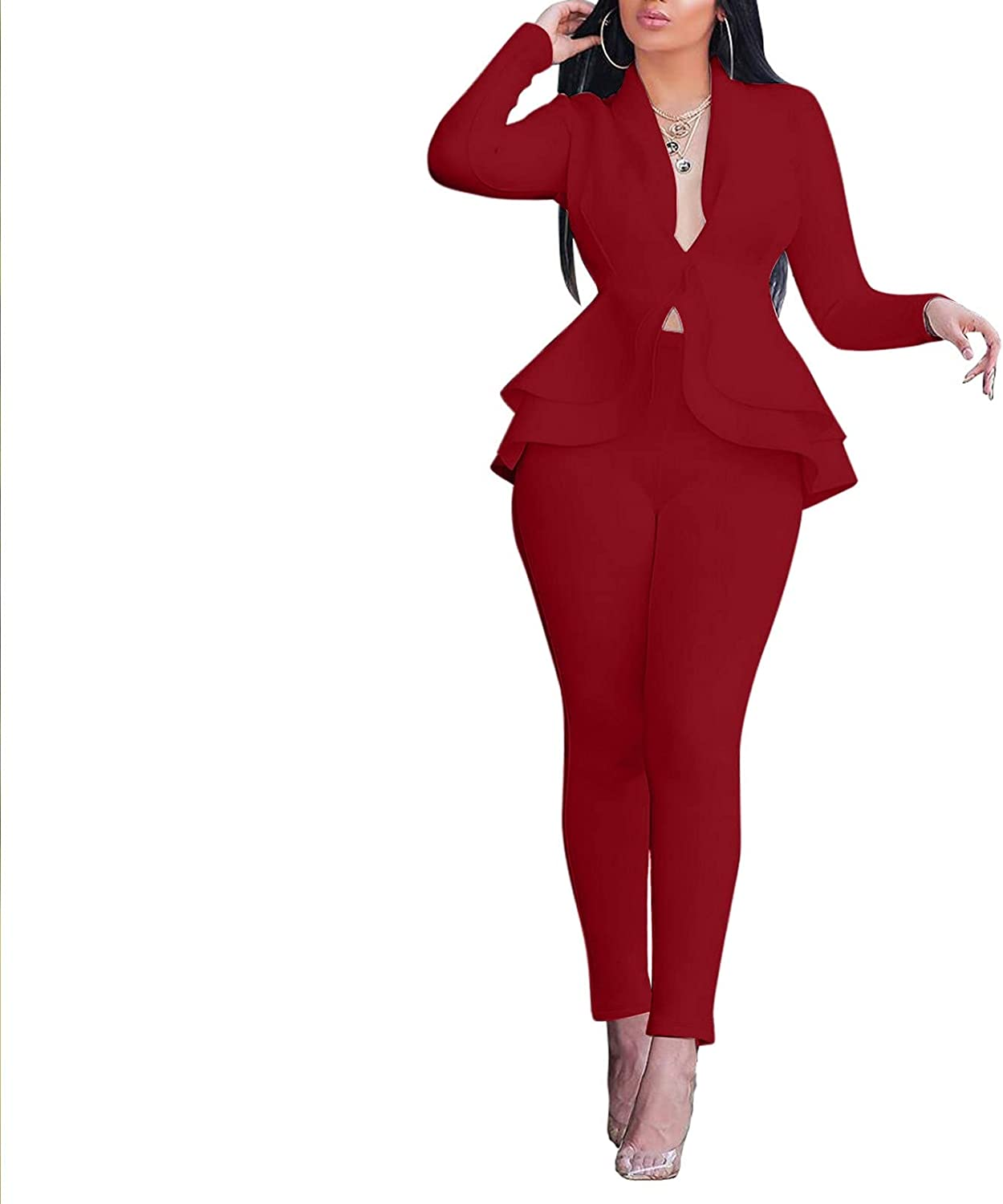Aniywn 2 Piece Outfits for Women Sexy Long Sleeve Solid Blazer with Pants Casual Elegant Business Suit Sets