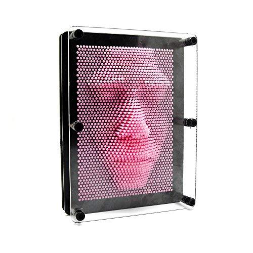 Bycws 3D Pin Art Board - Klassische große Pin Point Impression Spielzeug Nadel Skulptur Pin Form 3-dimensionale Kunst Rahmen Stressabbau Spielzeug (Pink),9.8x7.9x2.3in