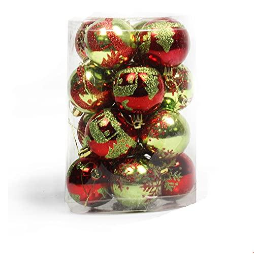 zhaohupinpai Decorazione Dell'albero Di Natale Da 3,9 Pollici, Palla Dipinta Da 10 Cm, Palla Da Appendere Con Decorazione Dell'albero Di Natale, Palle Di Natale Da 16 Pezzi, Palla Galvanica Brillante,