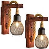 2 Packs Industrial Wood Iron Hemp Rope Wall Lamp Creative Personality Wall Lights Fixture for Indoor Lighting Barn Restaurant with Lampshade E27