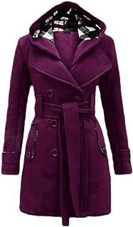 desolateness Women's Winter Warm Long Sleeve Coats Military Button Hooded Jacket Tops
