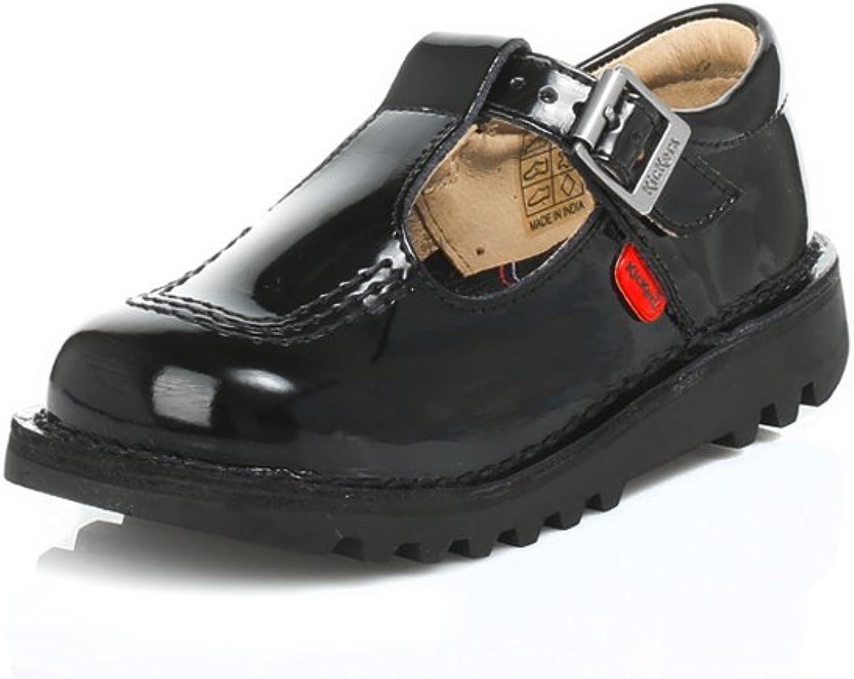 Kickers Infant Black Kick T Bar Patent Leather shoes-UK 8.5 Infant