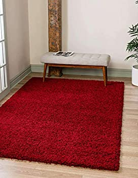 Unique Loom Solo Solid Shag Collection Modern Plush Cherry Red Area Rug  4  0 x 6  0