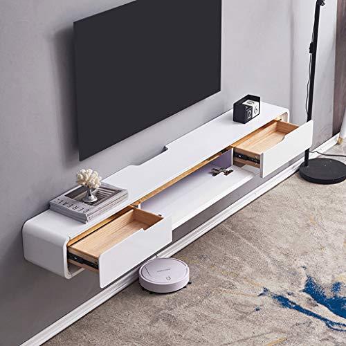 Mueble de TV flotante Consola multimedia para montaje en pared Soporte de TV 2 cajones, Estante de componentes de pared Estante de entretenimiento Estante de TV colgante, 47.24 ″ / 59 ″