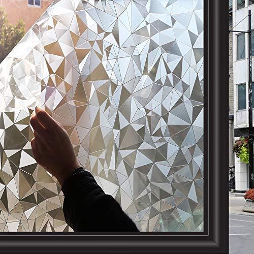Zindoo Fensterfolie Selbsthaftend Dekorfolie Blickdicht Sichtschutzfolie Ohne Kleber Gute Privatsphäre Schutz für Badezimmer, Duschkabine Sowie Türen, Umkleide und Konferenzräume 44.5 x 200CM