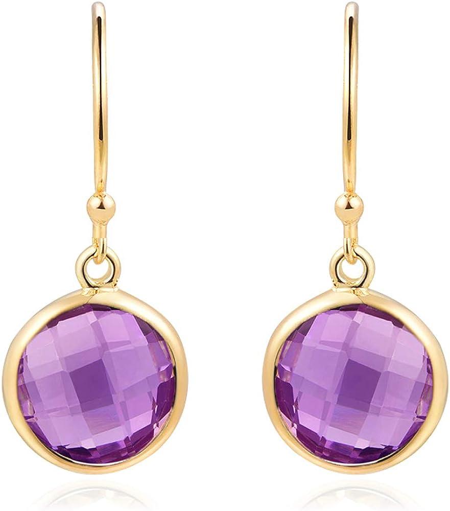 Piara Genuine Gemstone Drop Earrings Plated Virginia Beach Mall D 18K 100% quality warranty! Handmade Gold